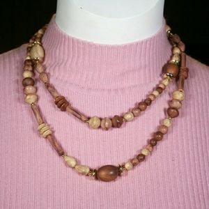 Jewelry - Quality Wooden necklace -double or wear long